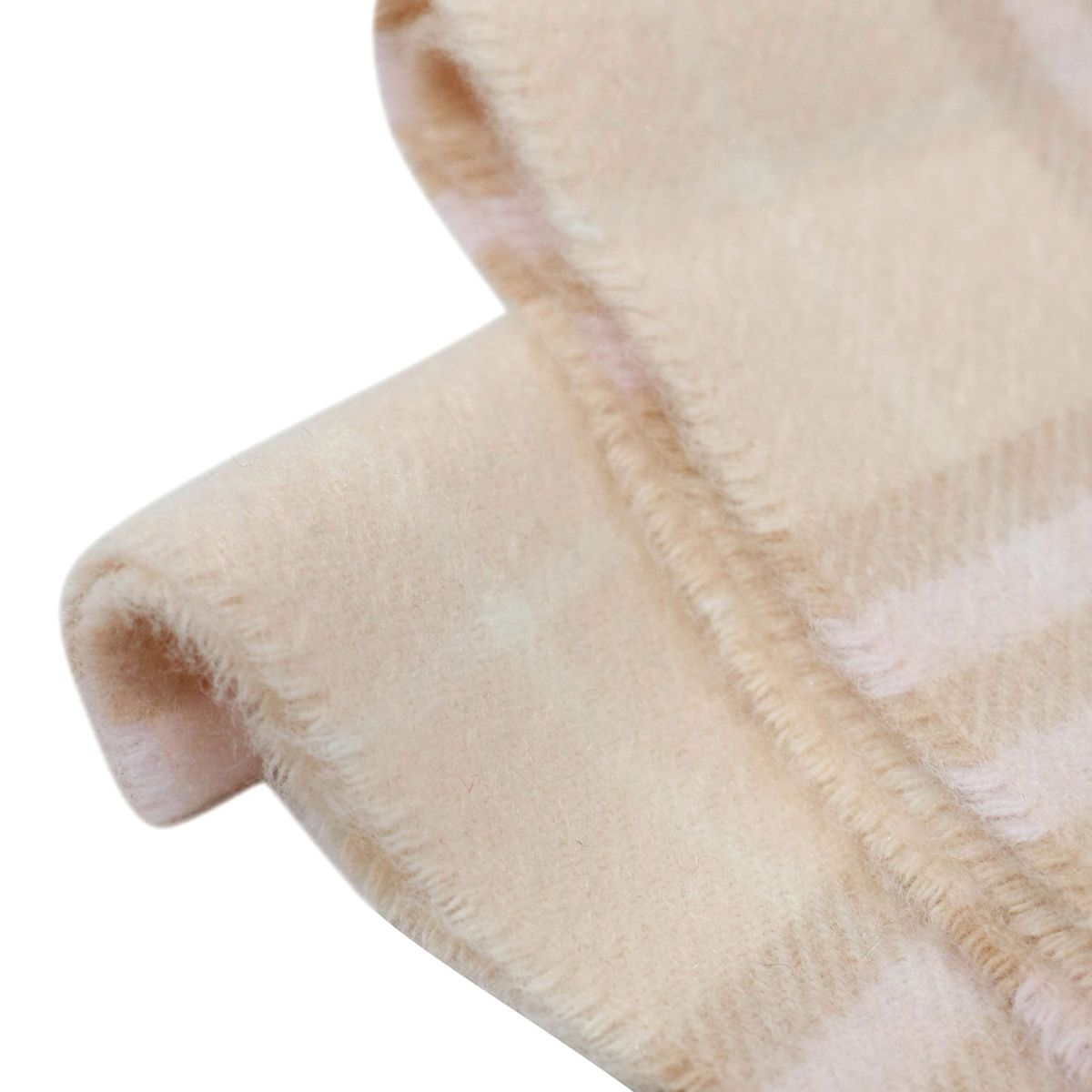Cashmere scarf with check and fringe motif Pink check Burberry
