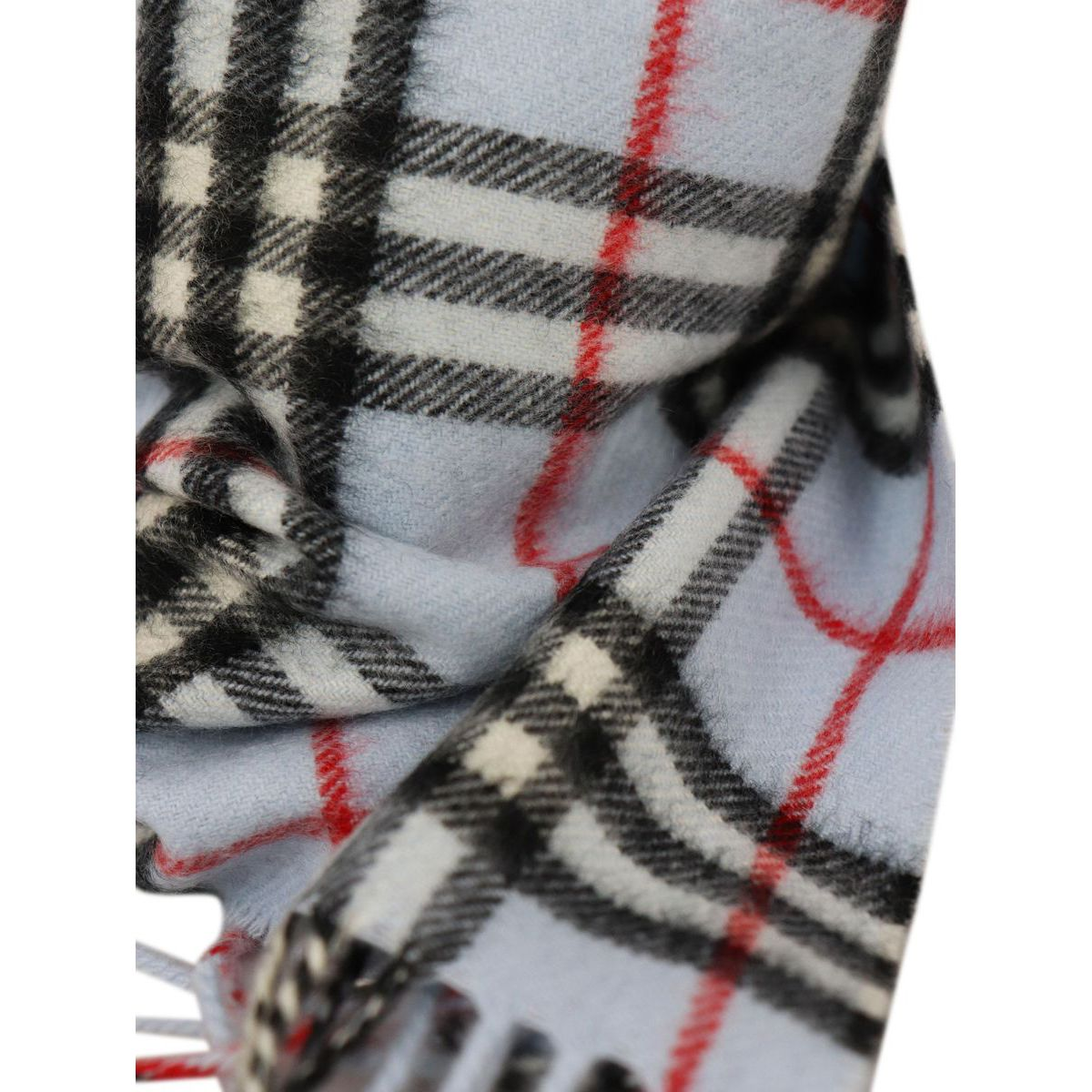 Cashmere scarf with tartan pattern and fringes Check blue Burberry