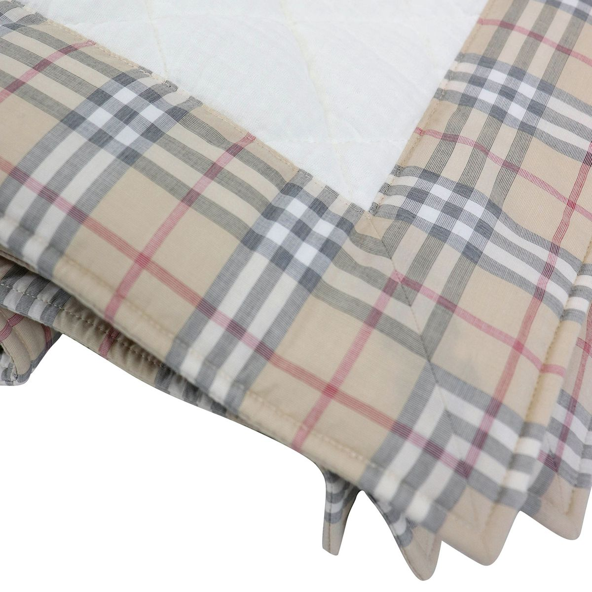 Quilted cover with check pattern border White Burberry