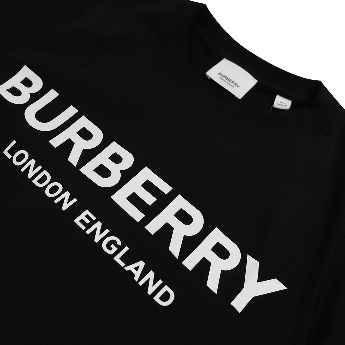 Crew-neck cotton T-shirt with logo print Black Burberry