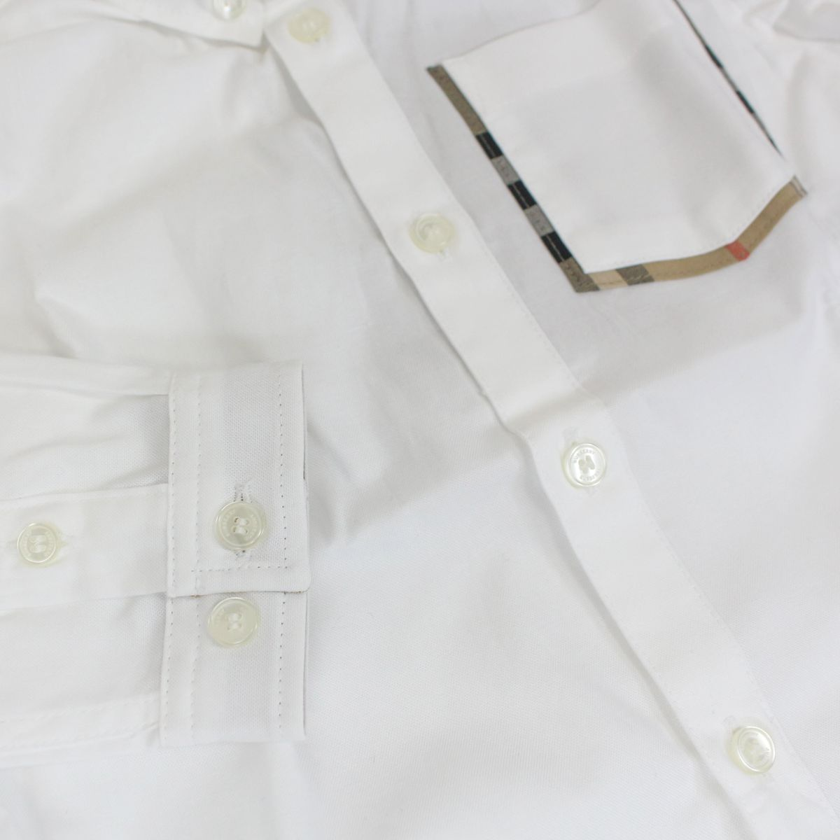 Harry button down shirt with check details White Burberry