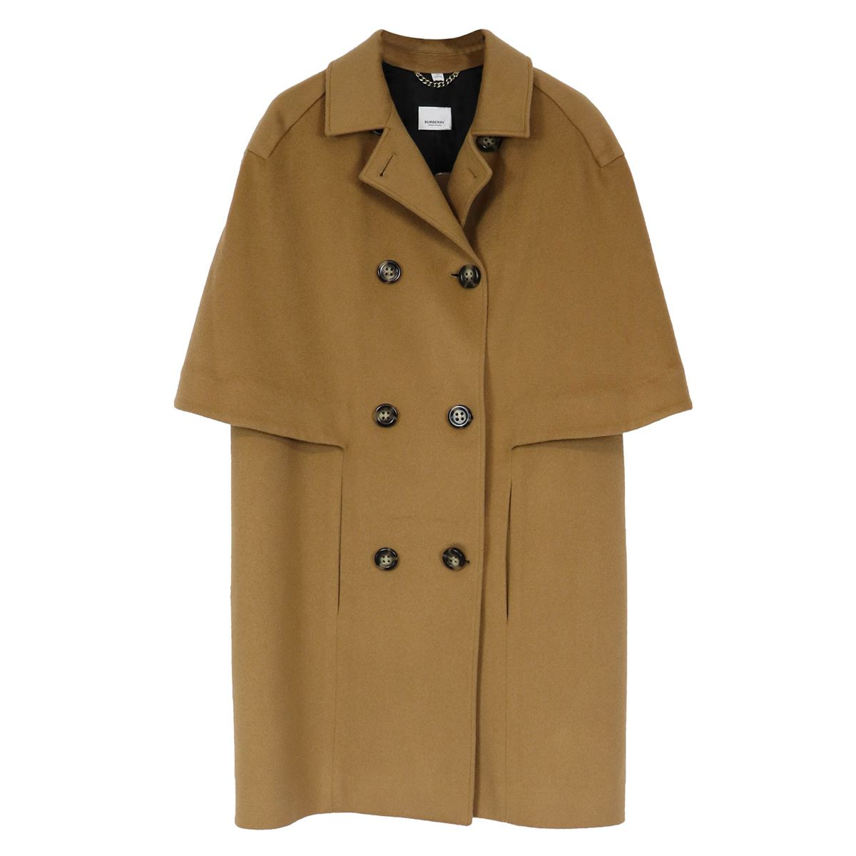 double-breasted cashmere coat with cape sleeves Sand Burberry