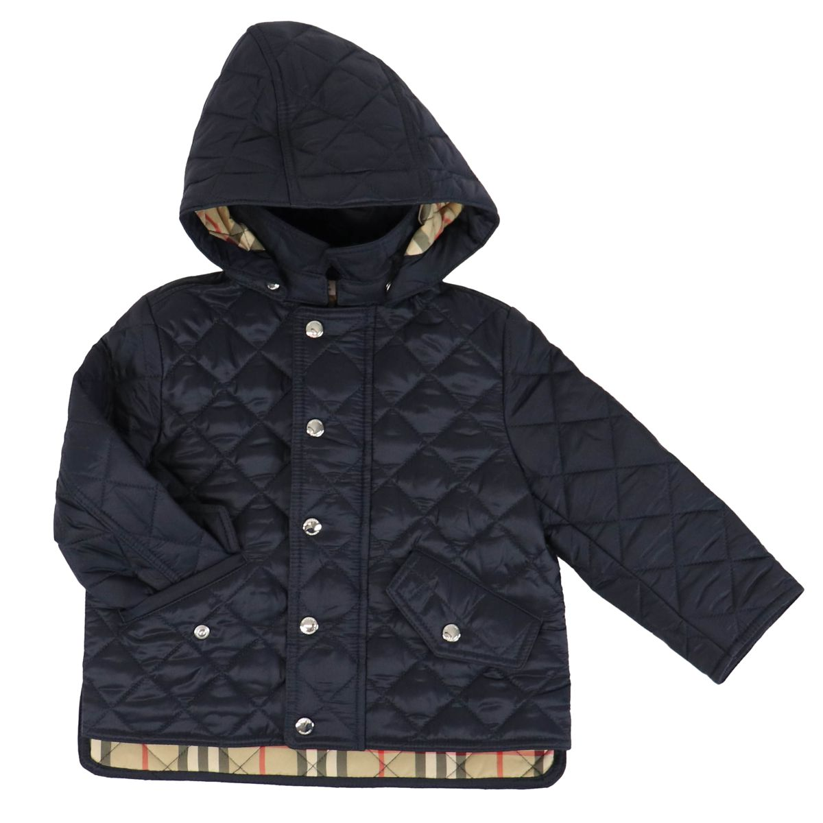 Quilted nylon jacket with removable hood Blue Burberry