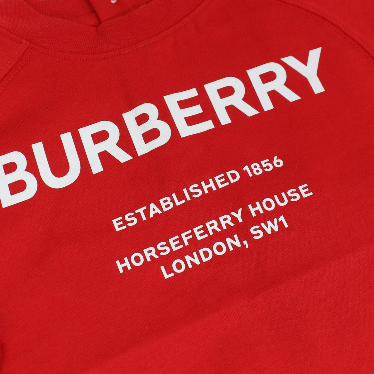 Cotton sweater with contrasting logo print and buttons Red Burberry