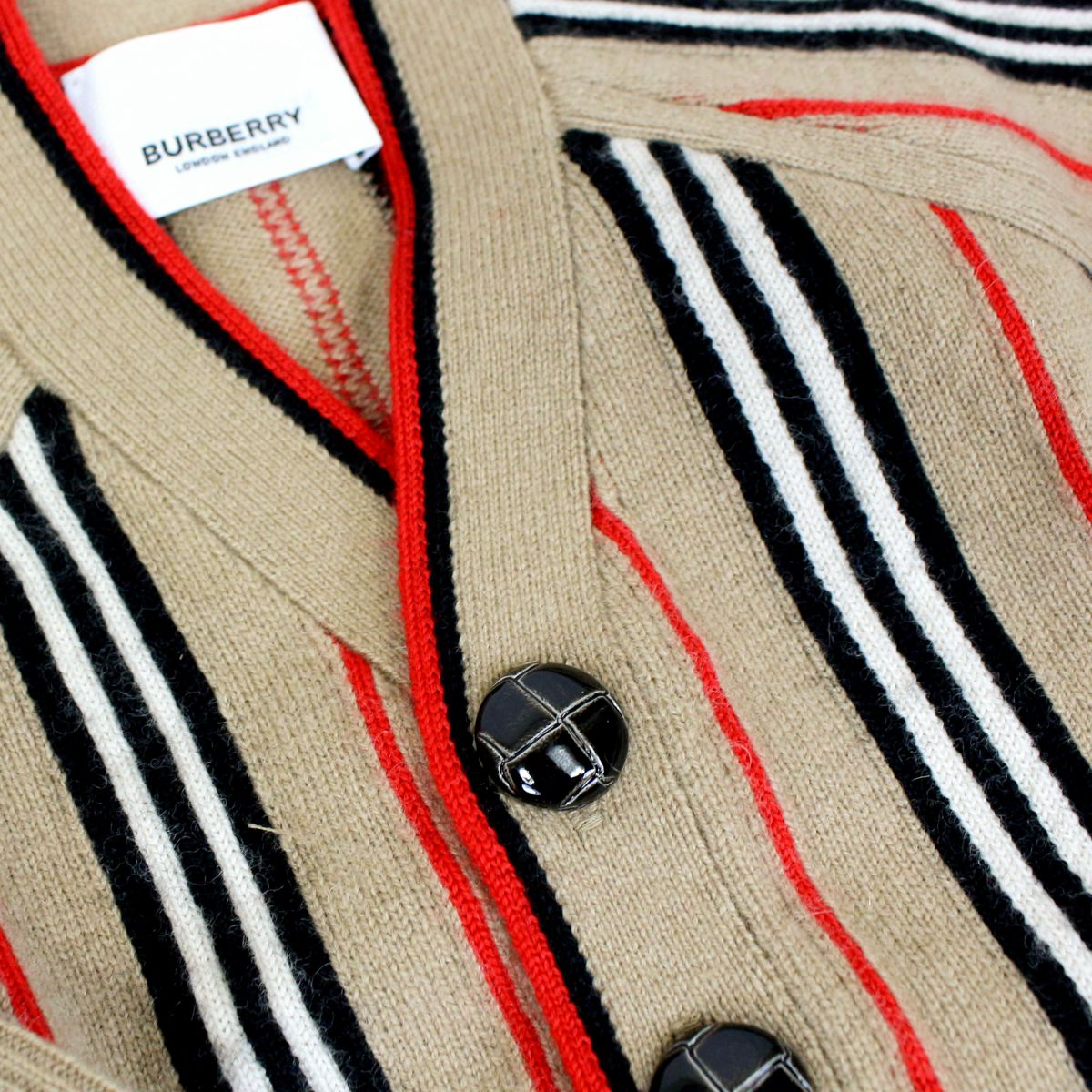 Cashmere blend cardigan with tartan pattern Beige check Burberry