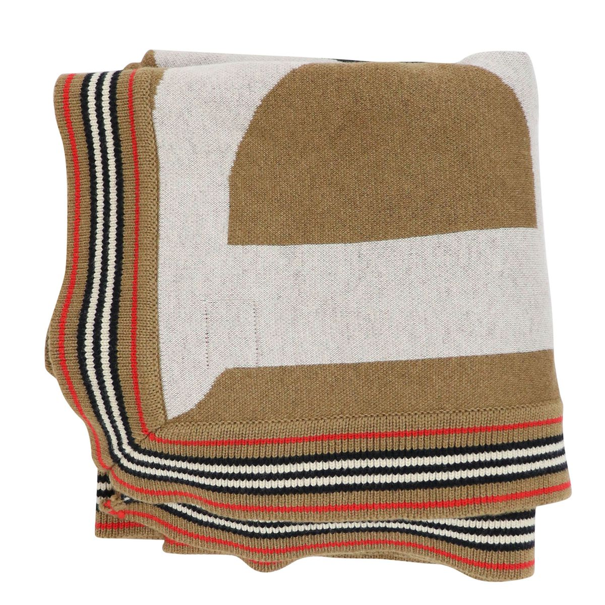 Cashmere and wool blend cover with logo print Camel Burberry