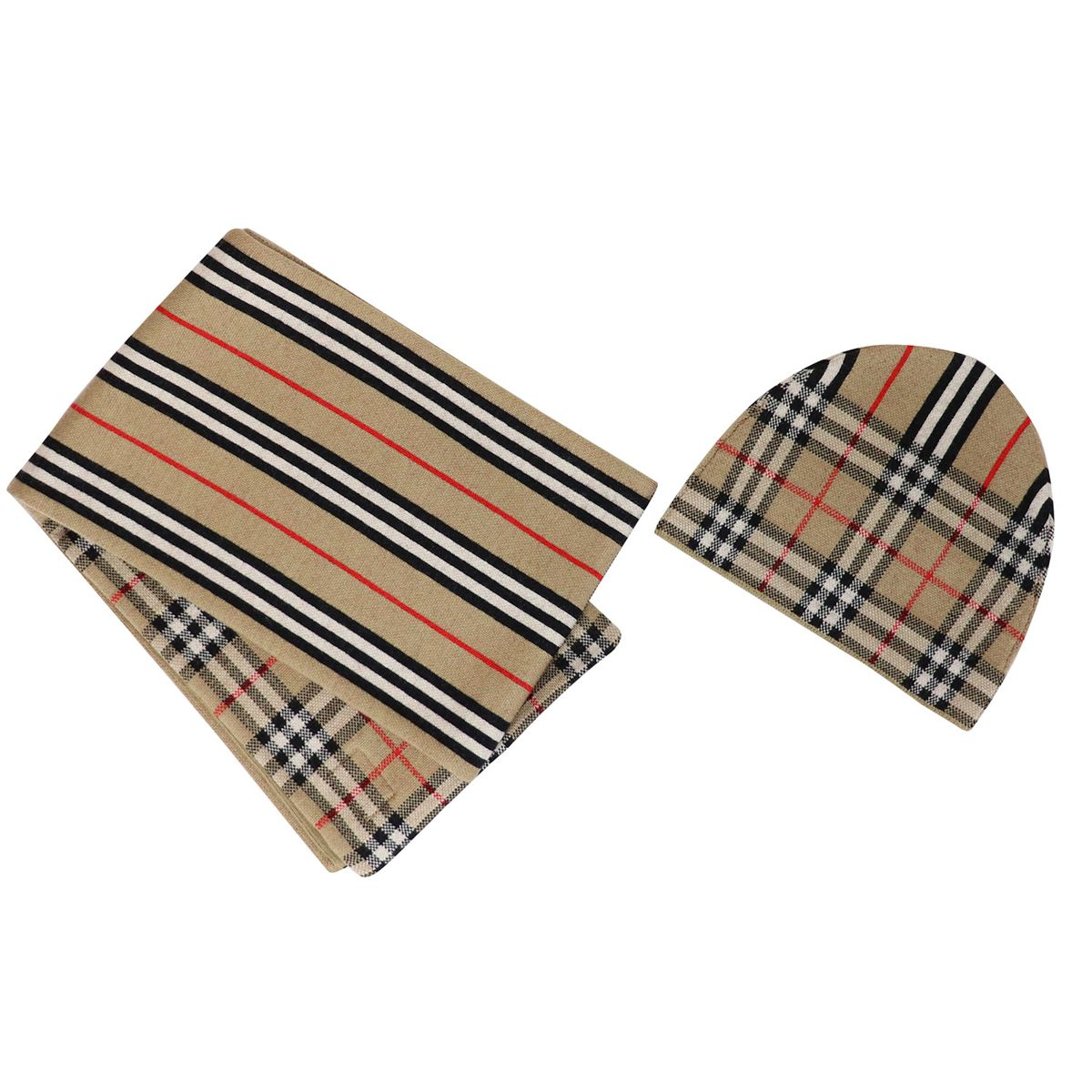 Hat + scarf set in wool with check pattern Beige check Burberry