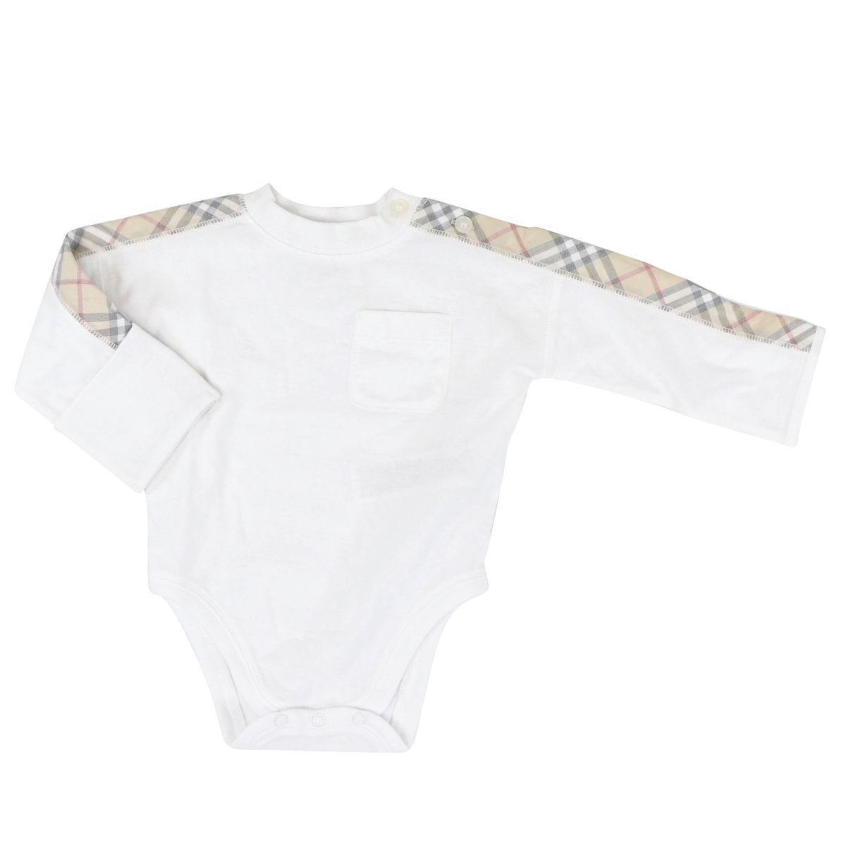 3 piece baby set with check pattern details White Burberry