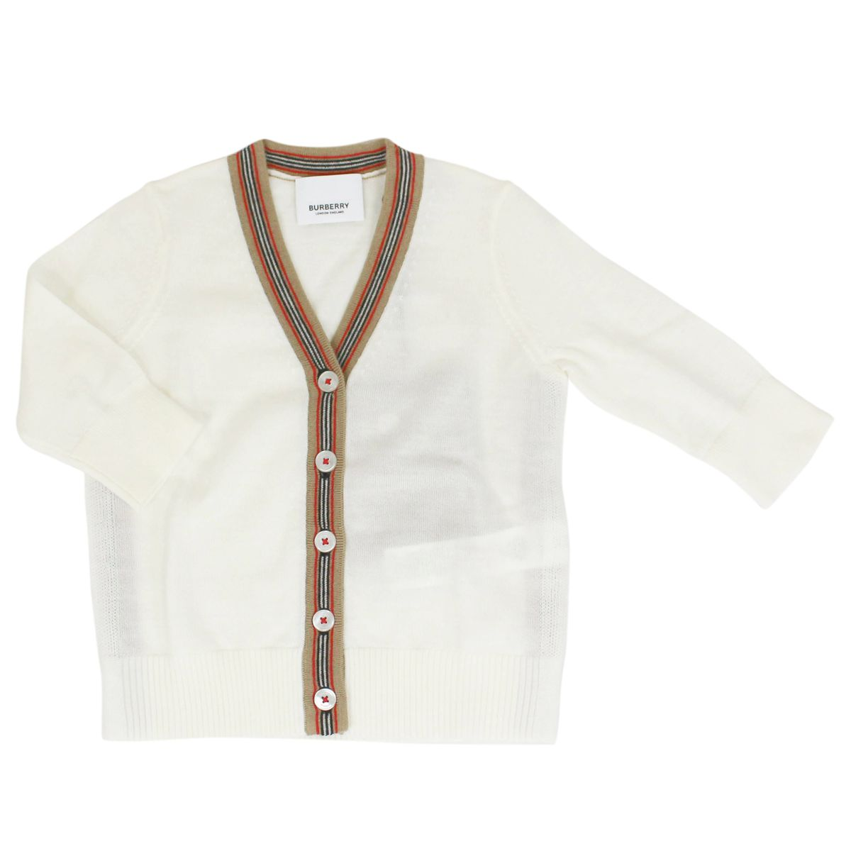 Wool cardigan with striped edges Ivory Burberry