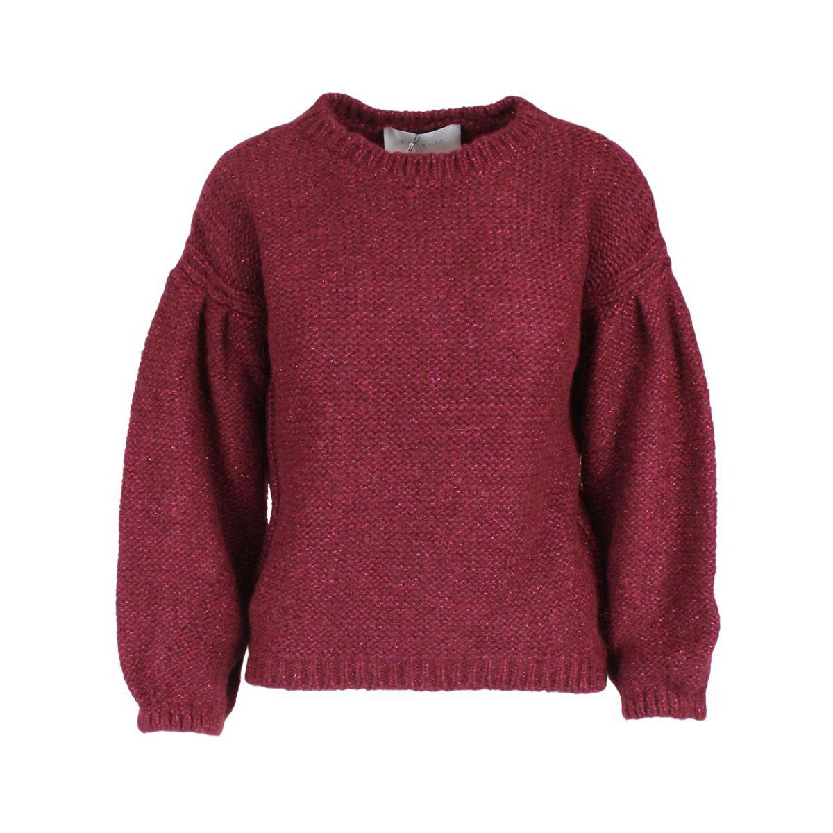 Meinella sweater with wide sleeve in cotton blend Bordeaux Nenette