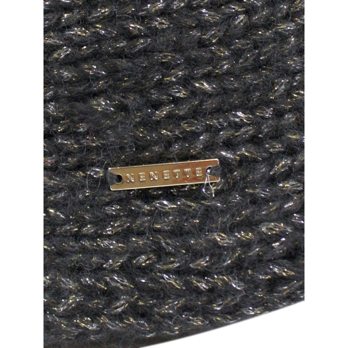 Wool blend Oleander scarf Black Nenette