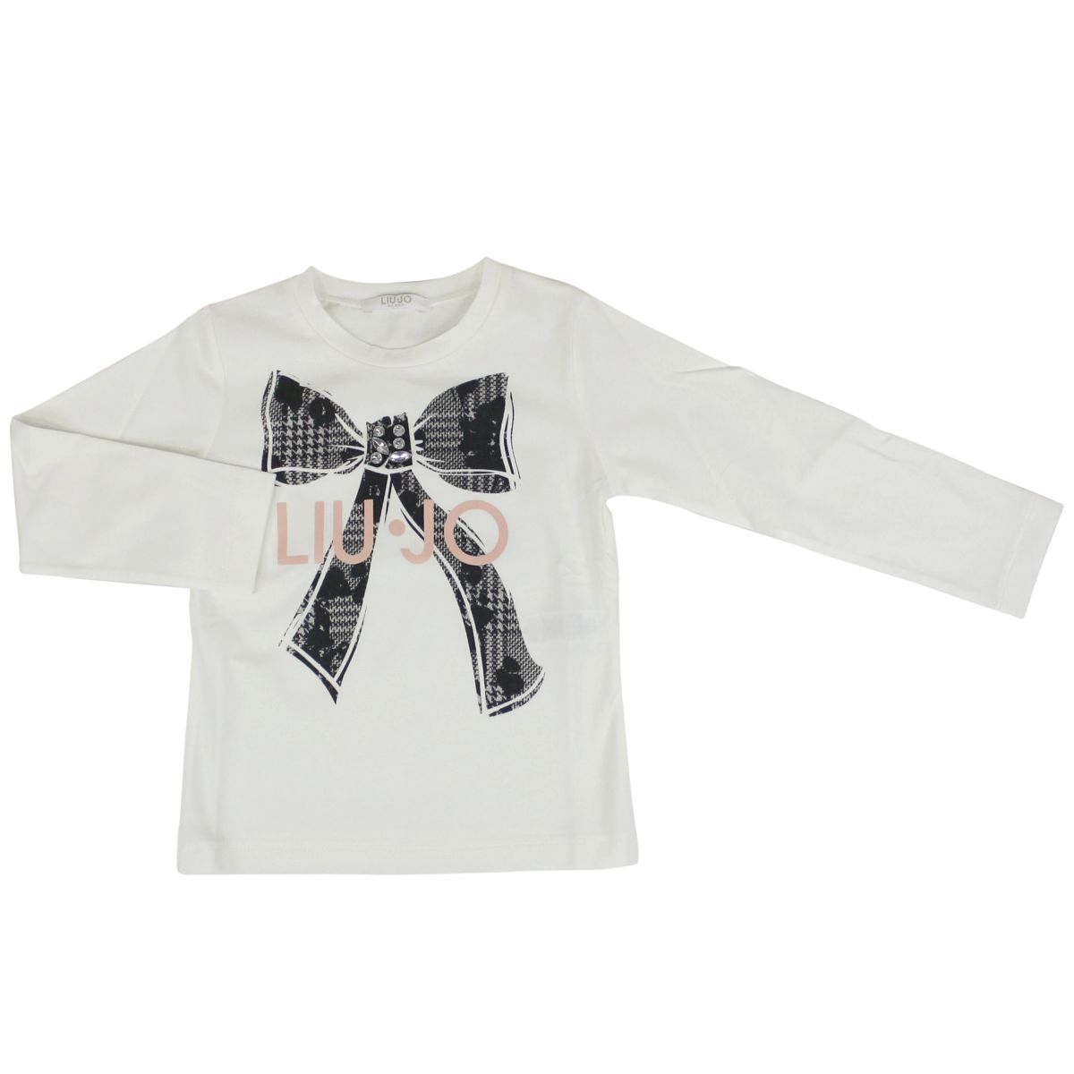 Cotton sweater with bow print and inserts White black Liu Jo
