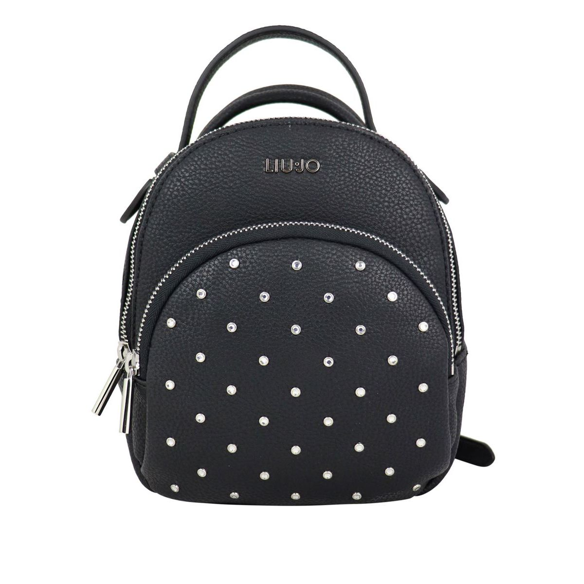 Faux leather backpack with rhinestones Black Liu Jo