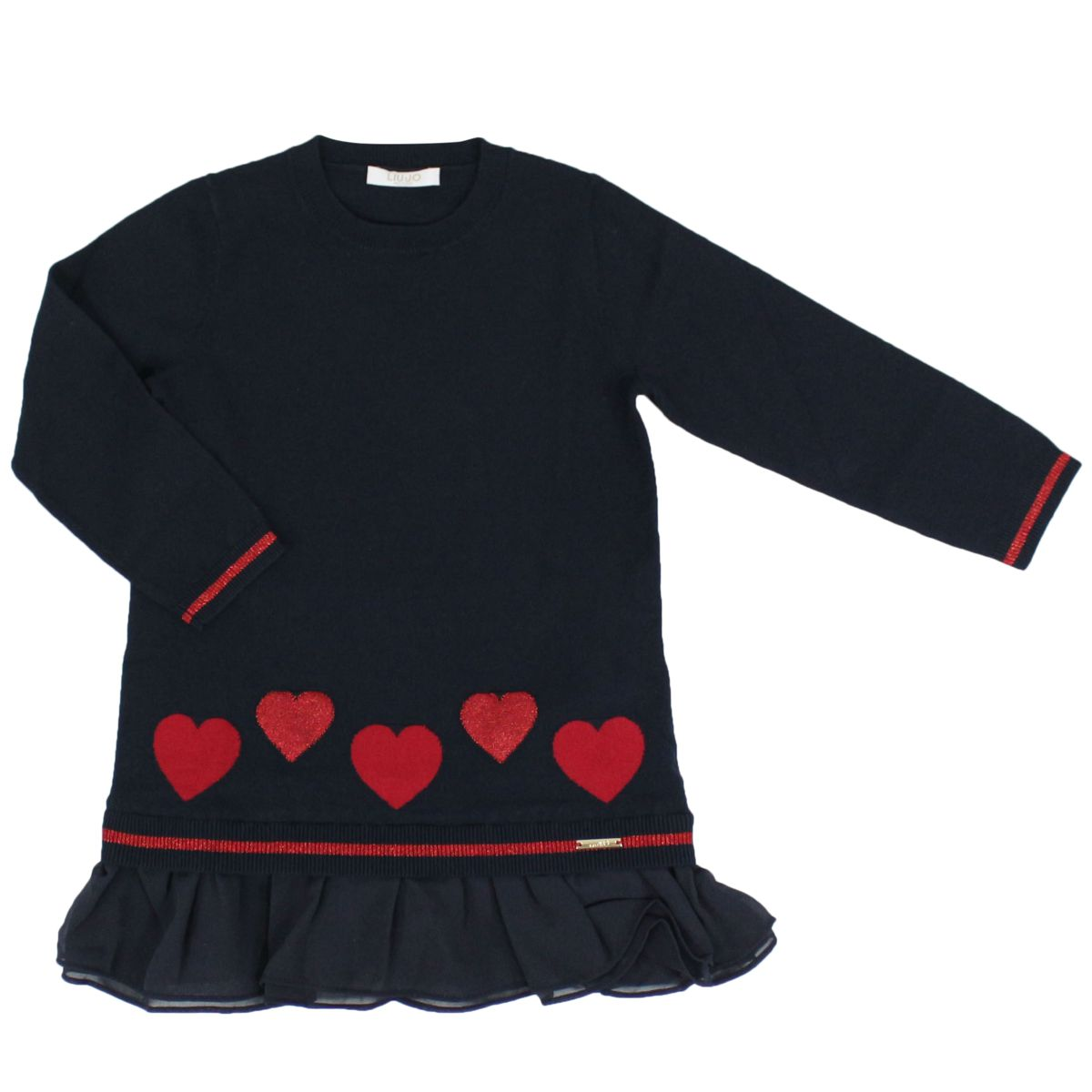 Knitted dress with glitter hearts and flounces Blue Liu Jo