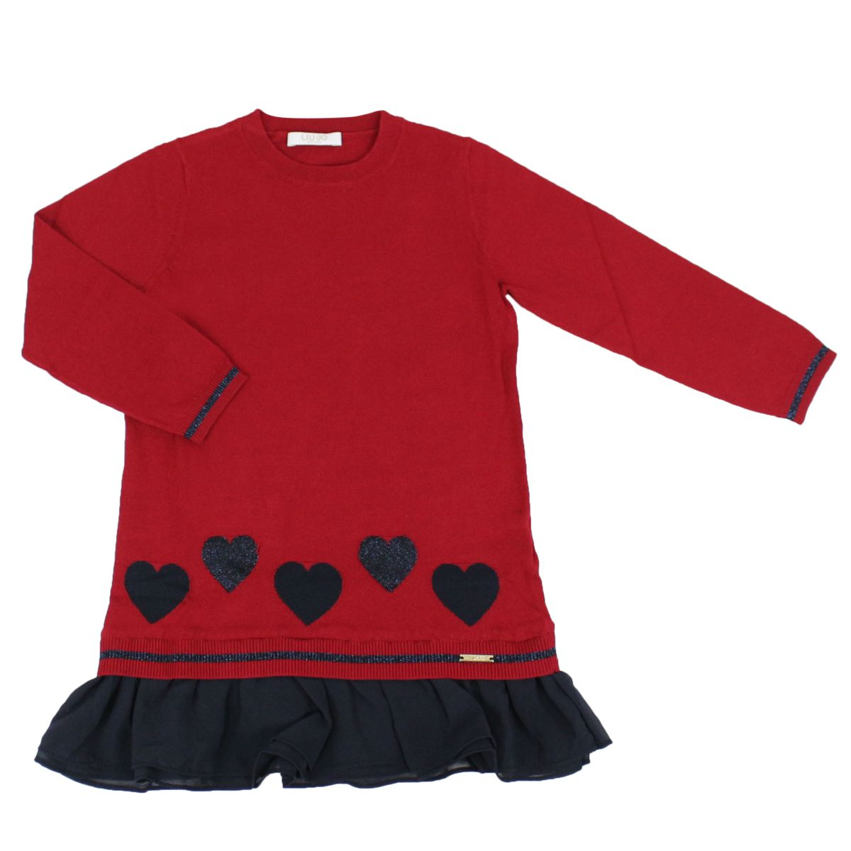 Knitted dress with glitter hearts and flounces Red Liu Jo