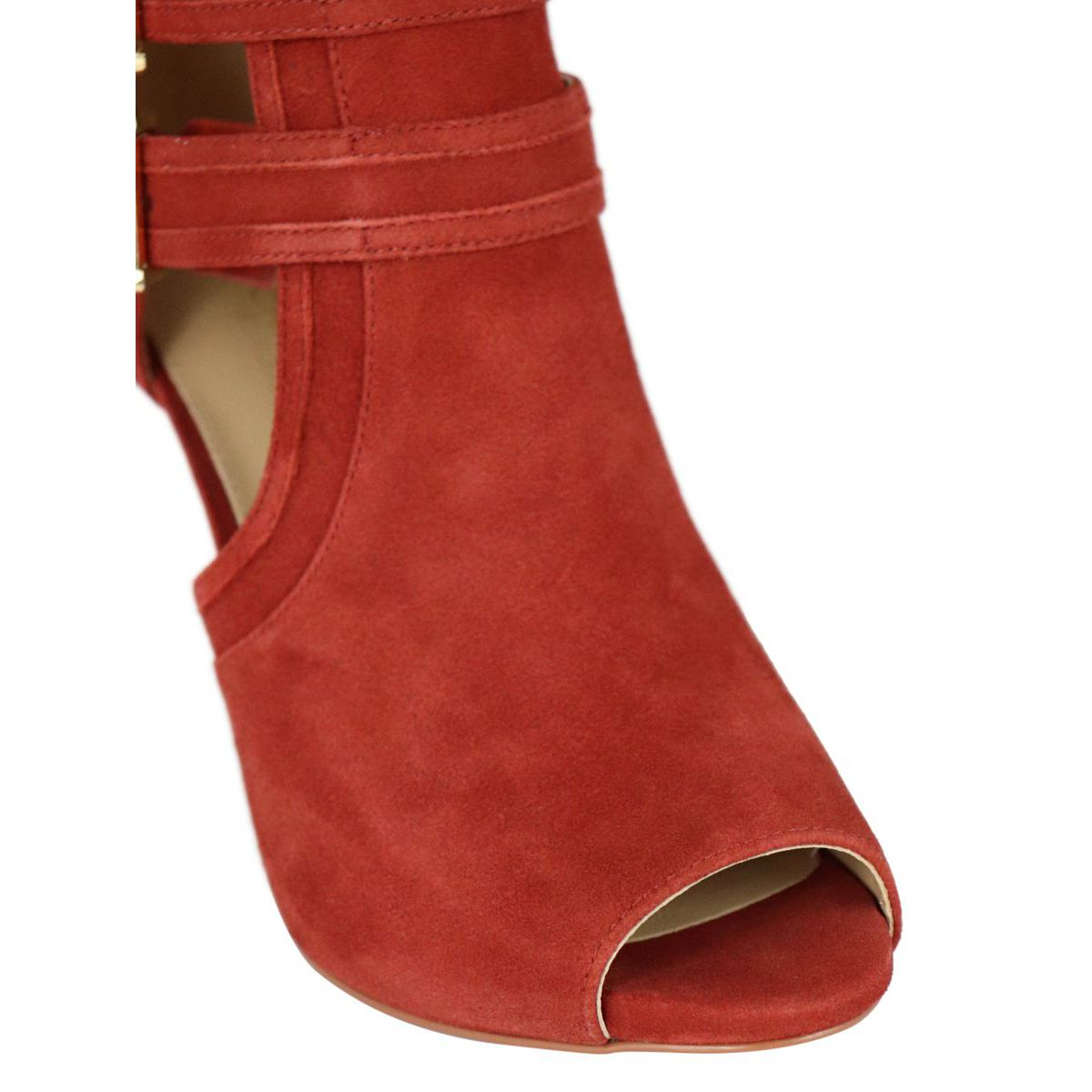 Blaze Open Toe suede ankle boots with buckles Rust Michael Kors