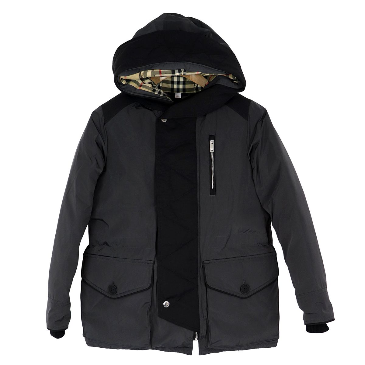 Two-material jacket with hood and EDDIE check pattern interior Night blue Burberry