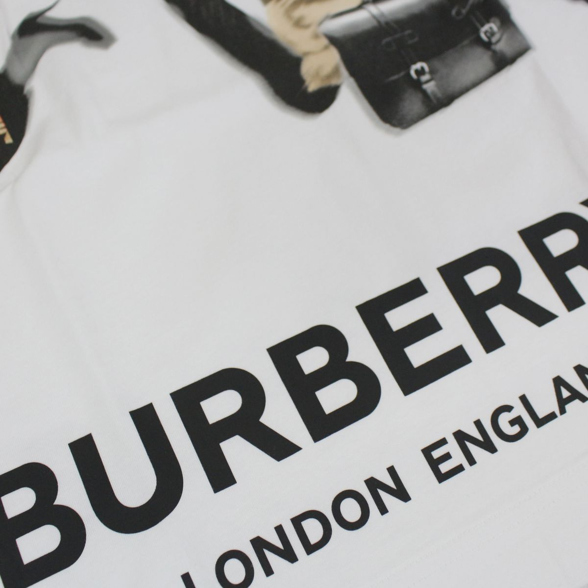Cotton t-shirt with maxi print and logo White Burberry