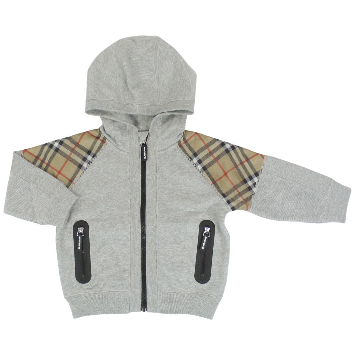 Zip hoodie and check details Melange gray Burberry