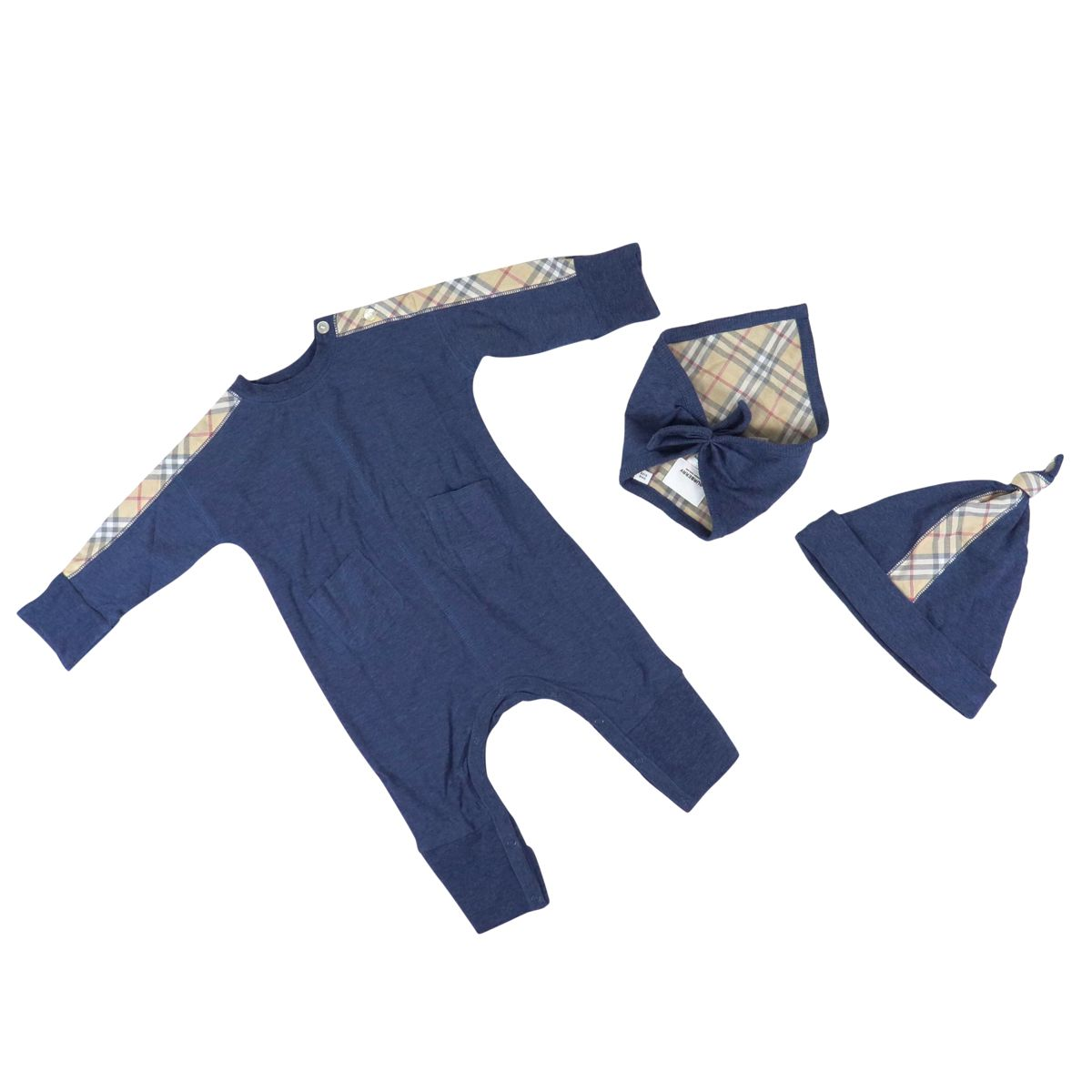 Colby set in cotton with check pattern Blue Burberry