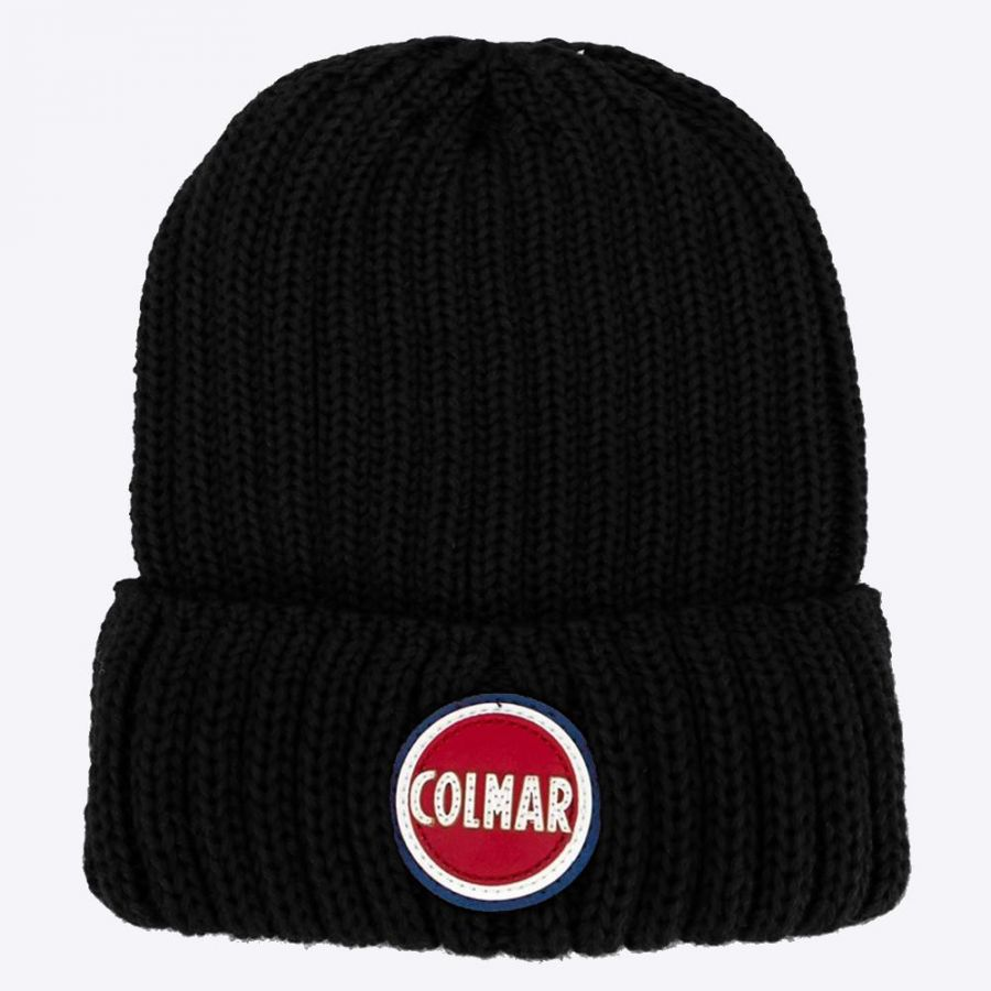 Ribbed wool cap with contrast logo Black Colmar