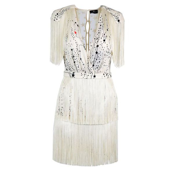 Short dress with fringes and star print Butter Elisabetta Franchi