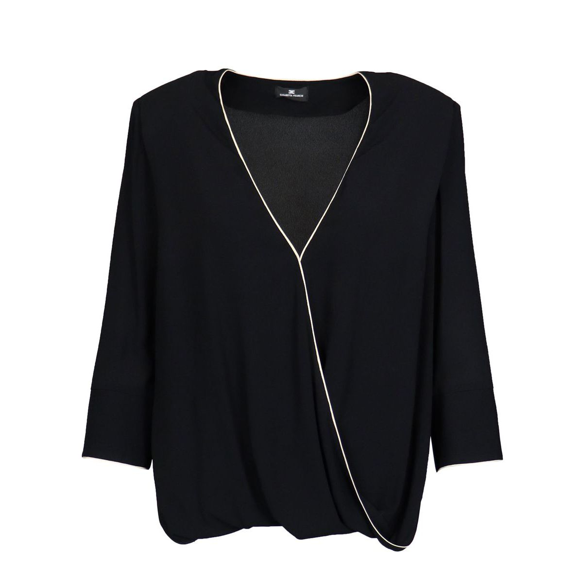 Viscose blouse with contrasting piping Black Elisabetta Franchi