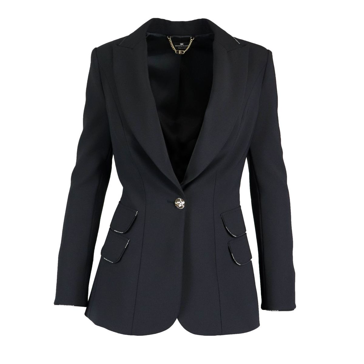 Jacket with lapels and contrast piping Black Elisabetta Franchi