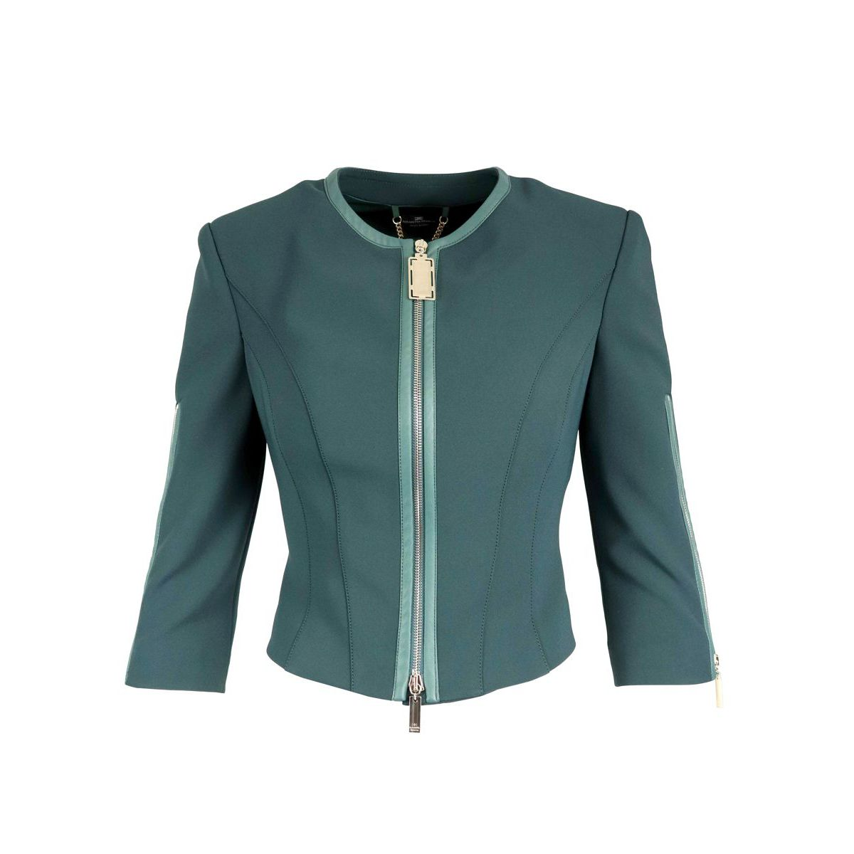 Cropped crew-neck jacket with zip Green bottle Elisabetta Franchi