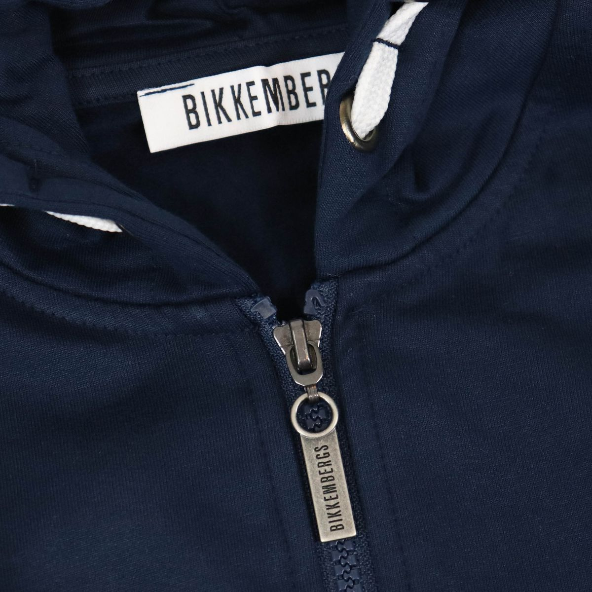 Cotton sweatshirt with zip and side logo print Blue Bikkembergs