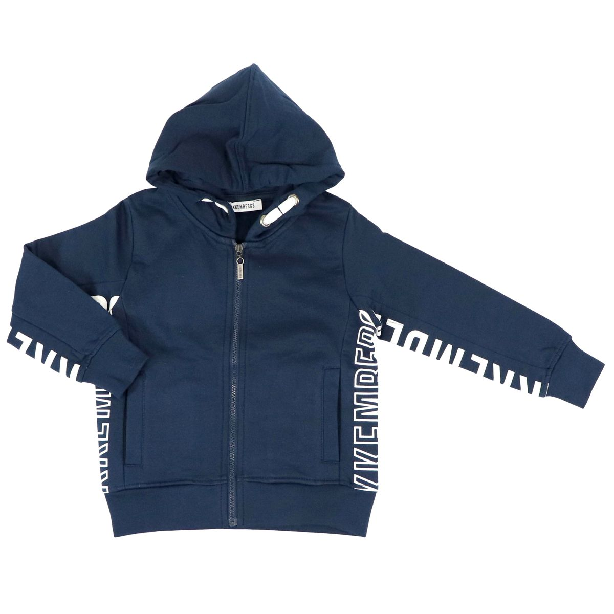 Cotton sweatshirt with hood and side logo print Blue Bikkembergs