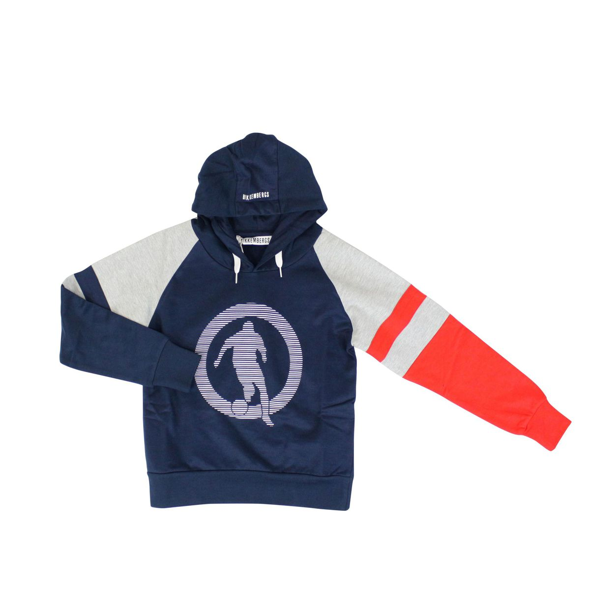 Cotton sweatshirt with hood and logo Blue Bikkembergs