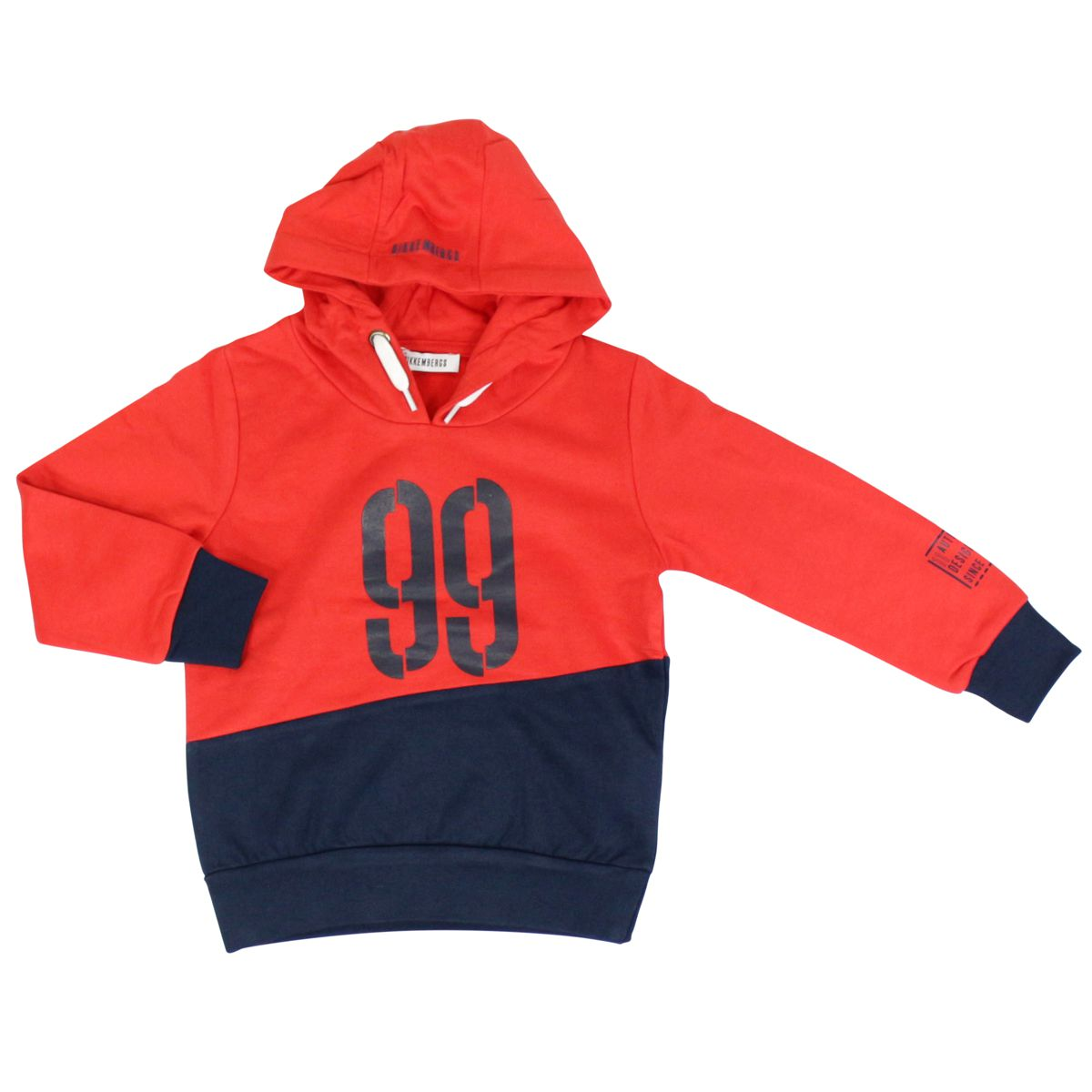 Cotton sweatshirt with hood and print Red Bikkembergs