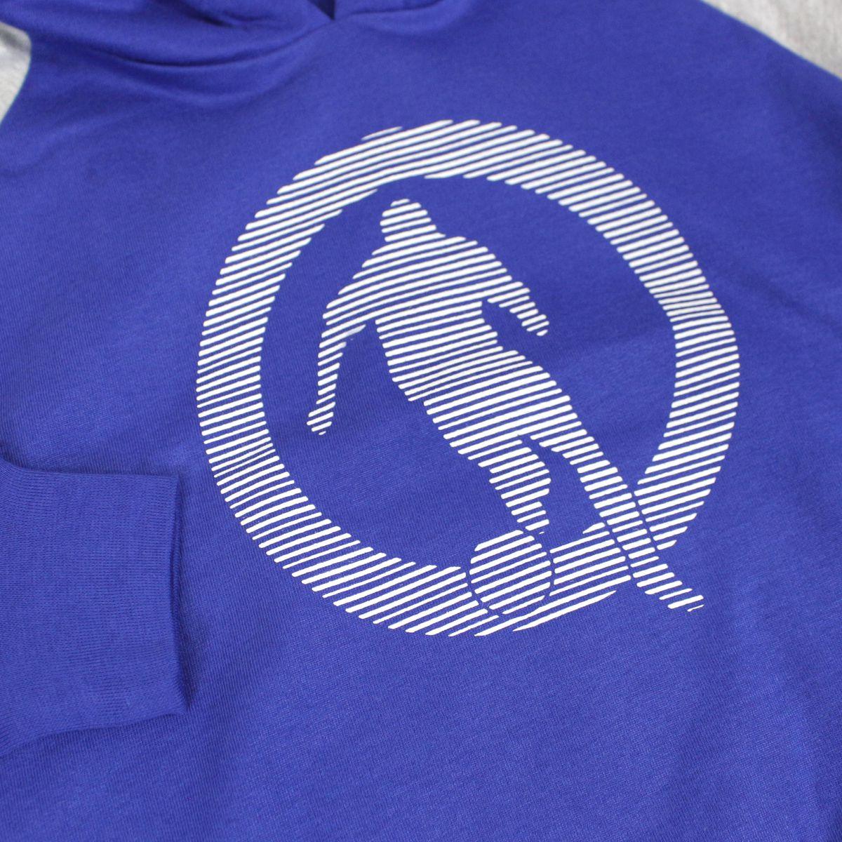 Cotton sweatshirt with footballer print hood Bluette Bikkembergs