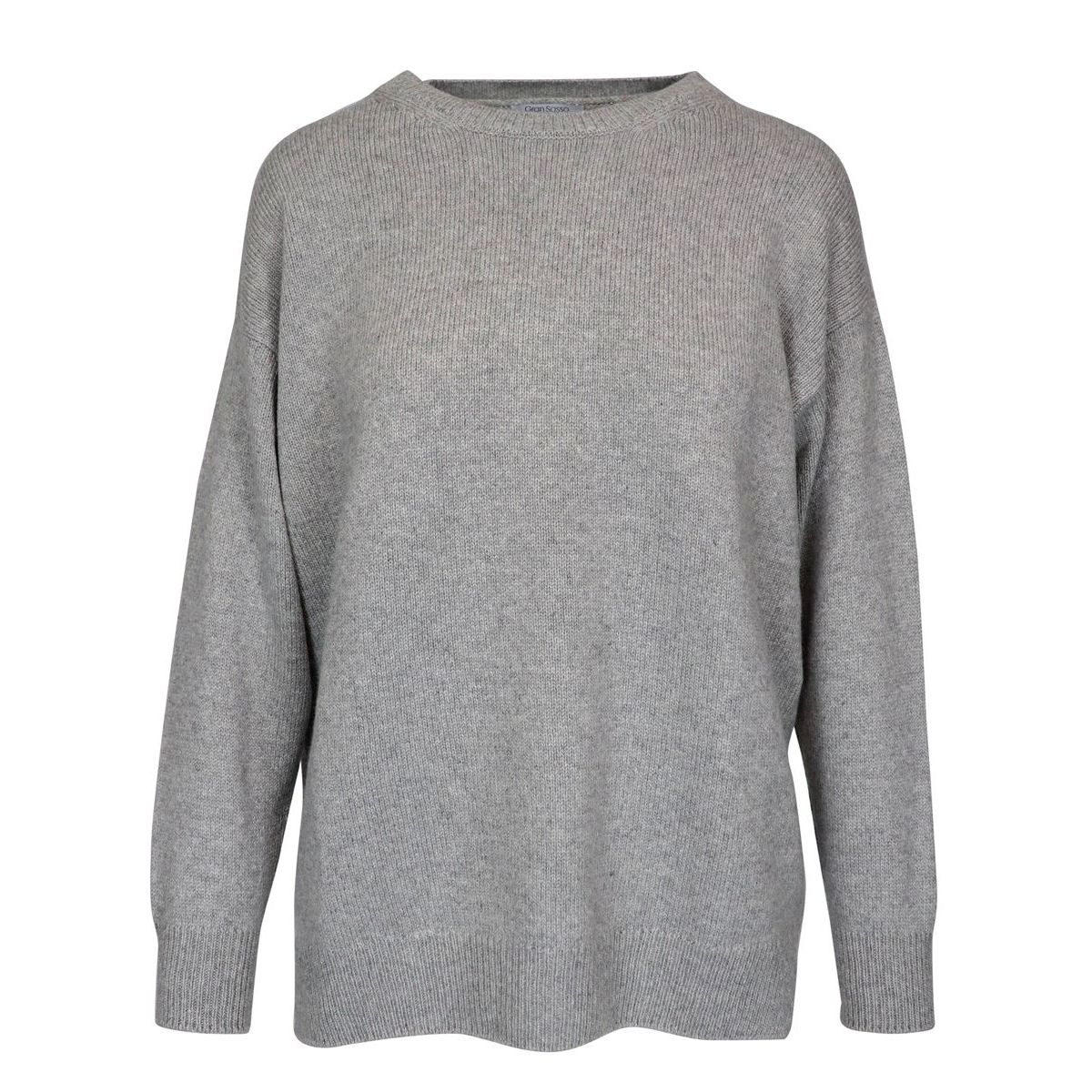 Cashmere crew neck pullover with side slits Light grey Gran Sasso