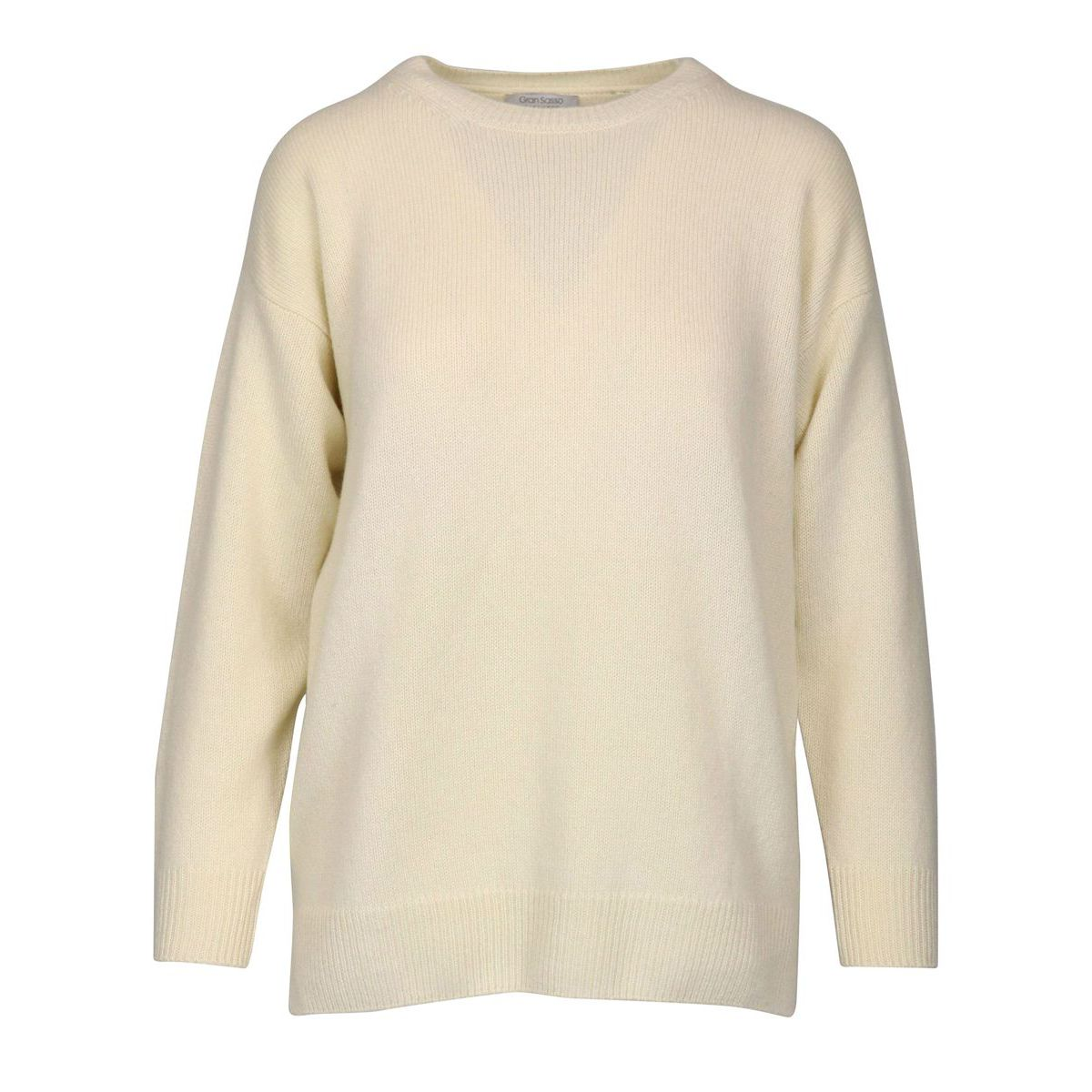 Cashmere crew neck pullover with side slits Cream Gran Sasso