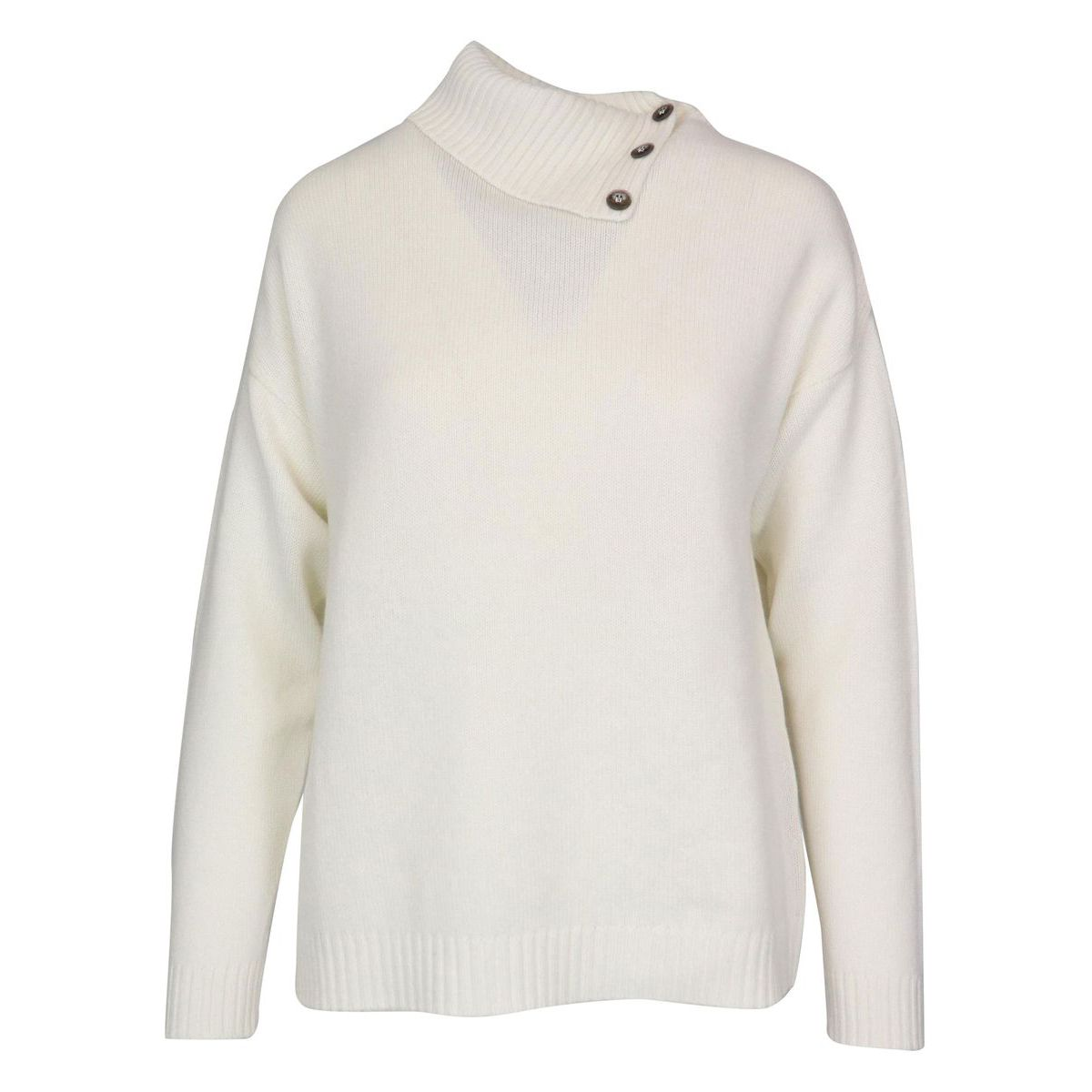 Cashmere sweater with high neck with buttons Cream Gran Sasso
