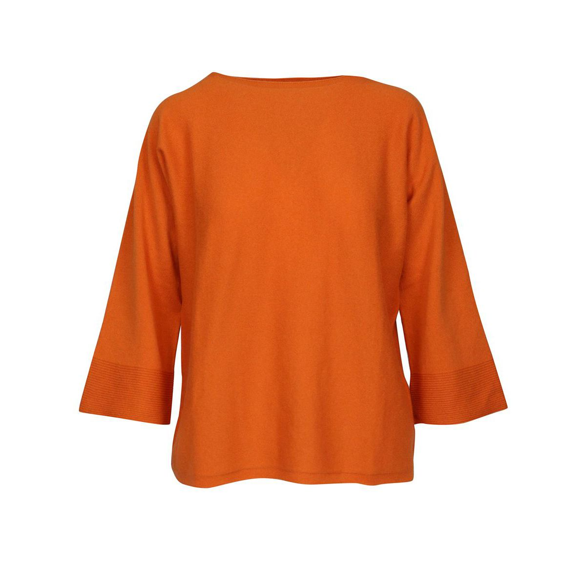 Wool blend sweater with boat neckline and 3/4 sleeves Orange Gran Sasso