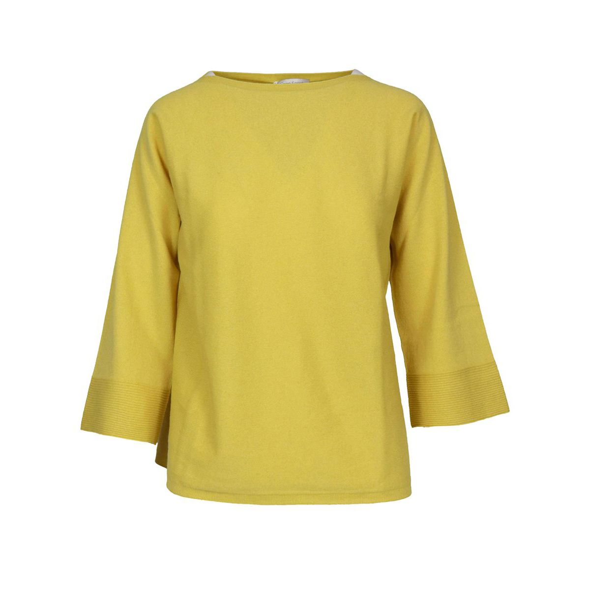 Wool blend sweater with boat neckline and 3/4 sleeves Yellow Gran Sasso