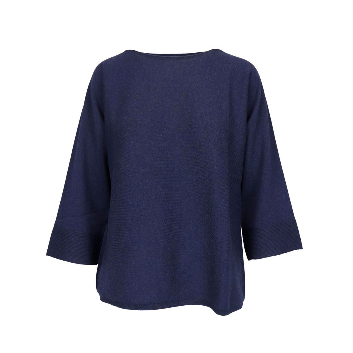 Wool blend sweater with boat neckline and 3/4 sleeves Navy Gran Sasso