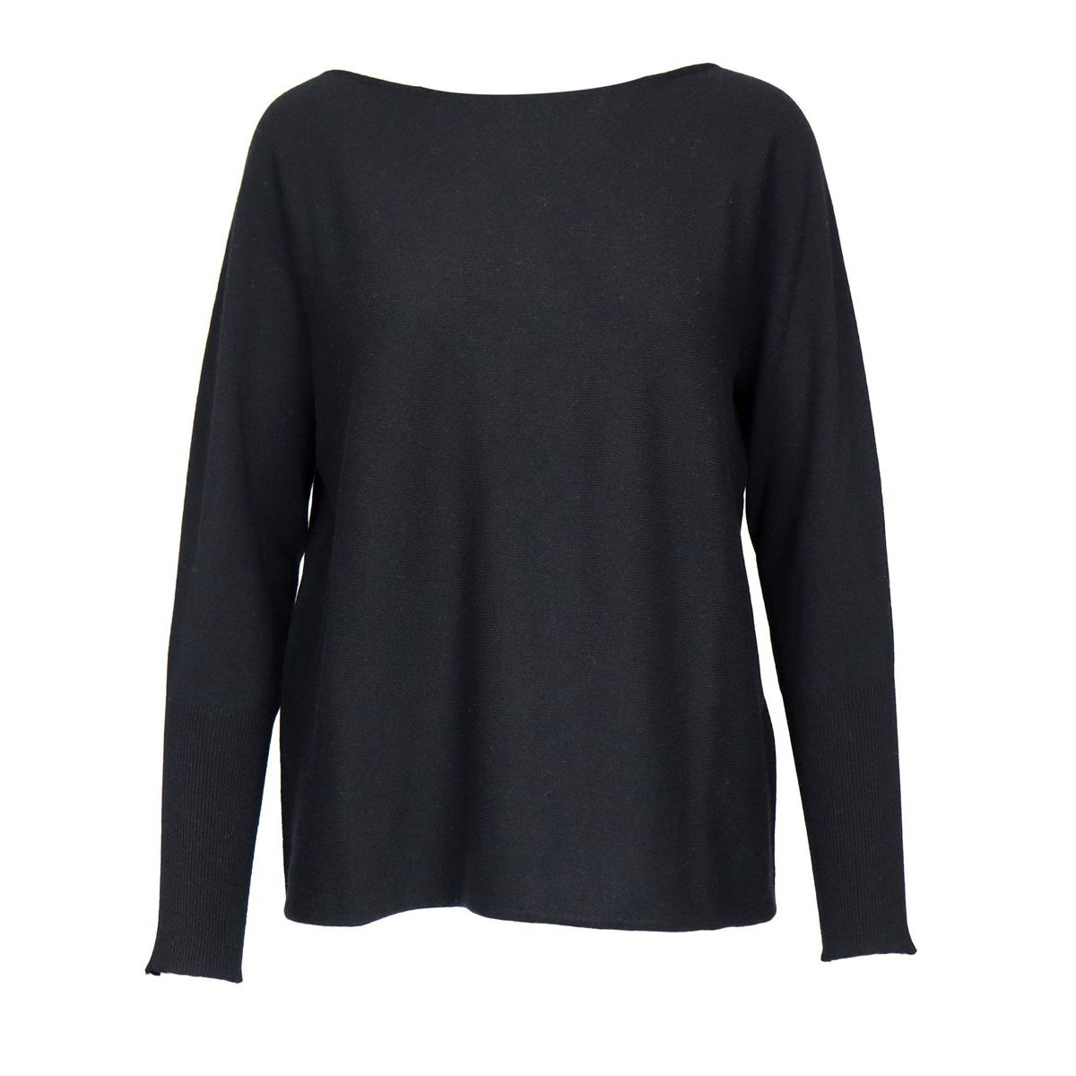 Cashmere and wool blend sweater with straight crew neck Black Gran Sasso