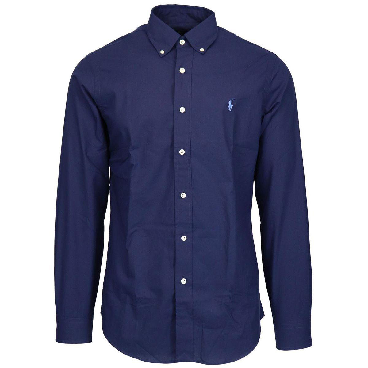 Regular-fit botton down shirt in stretch cotton Navy Polo Ralph Lauren