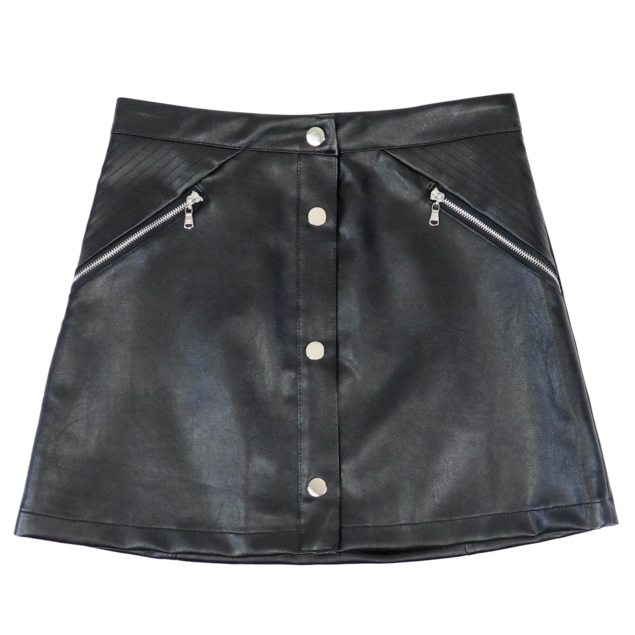 release date 3442f c845a Skirt in eco-leather with zip and metal buttons