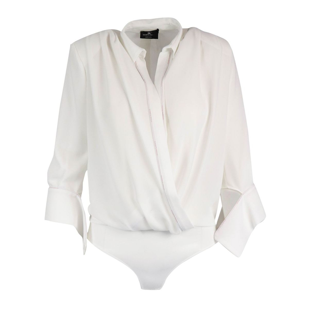 Body shirt with logoed piping Ivory Elisabetta Franchi