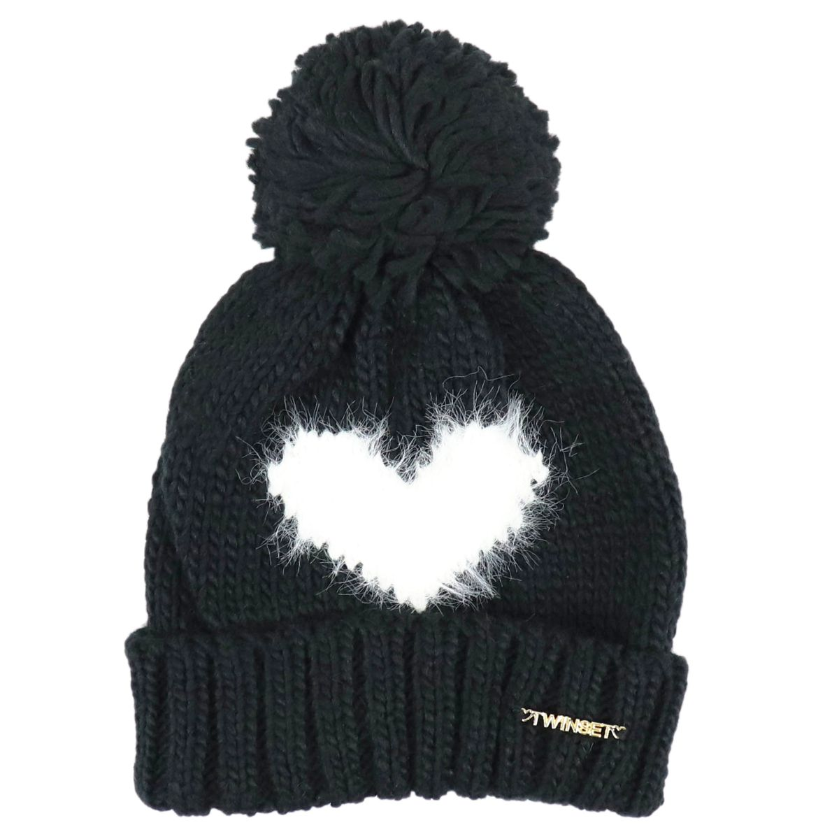 Knitted cap with heart and pon pon Black Twin-Set