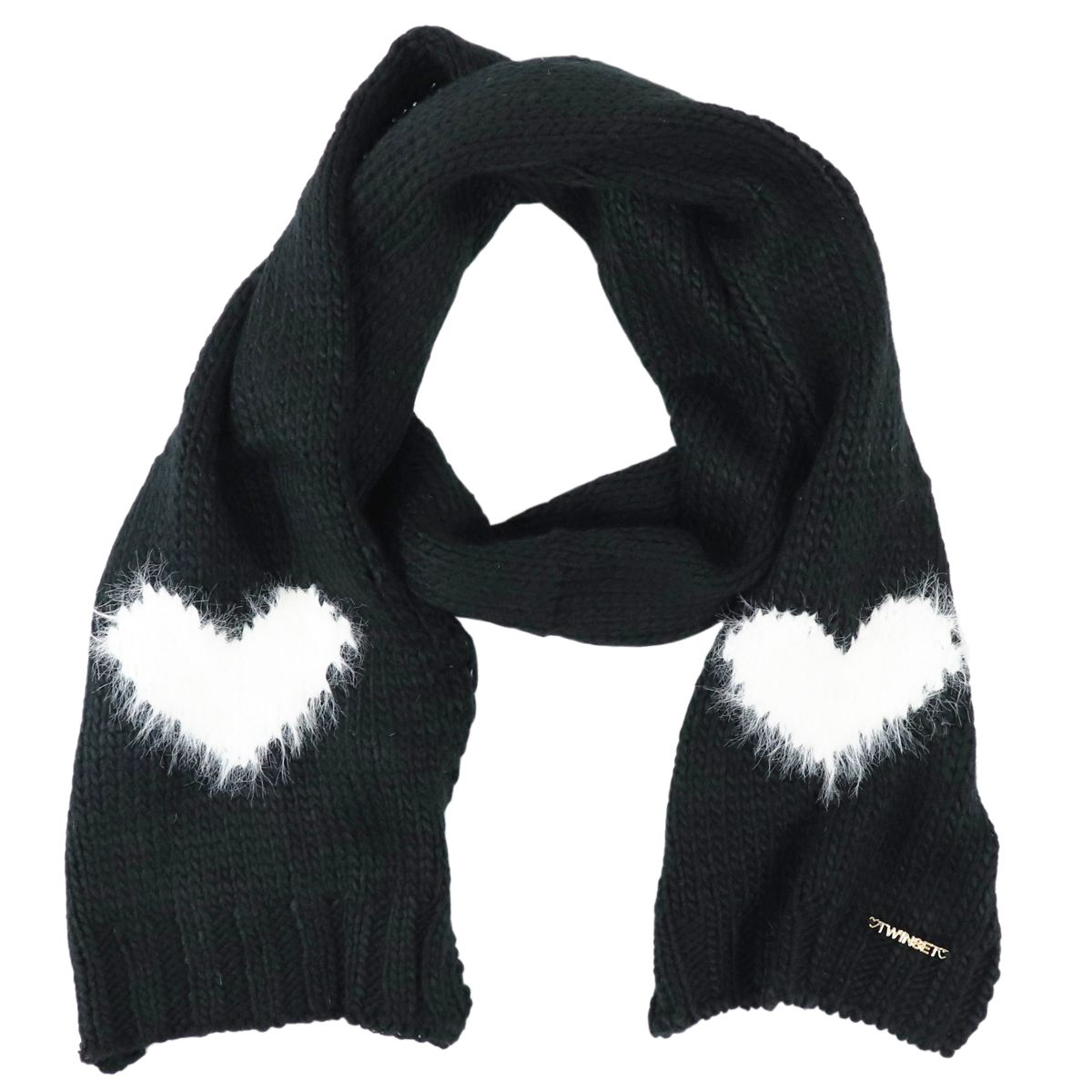 Knitted scarf with hearts detail Black Twin-Set