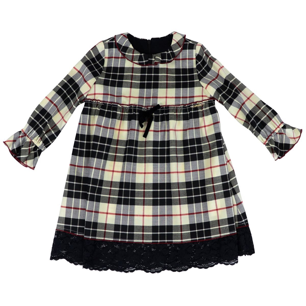 Dress in check wool blend with lace and bow Black / beige Twin-Set