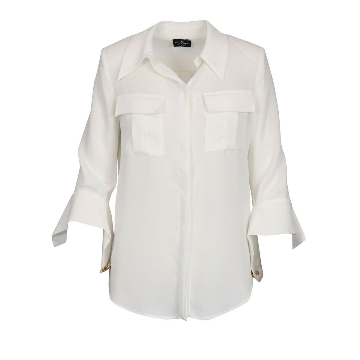 Georgette shirt with pockets Ivory Elisabetta Franchi