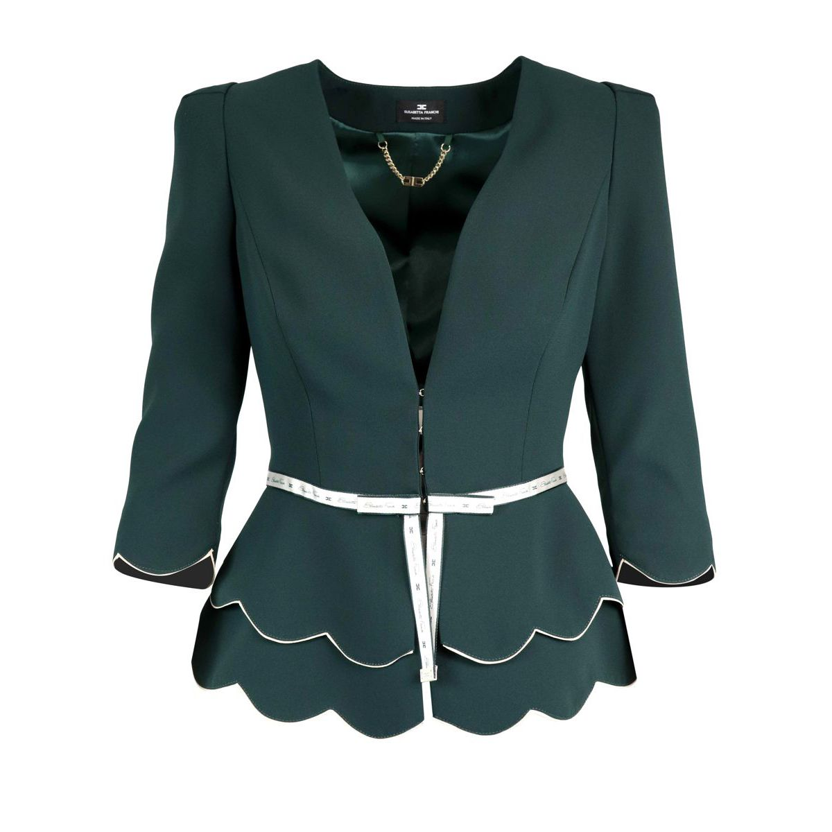 Jacket with scallops and logoed ribbon Green bottle Elisabetta Franchi