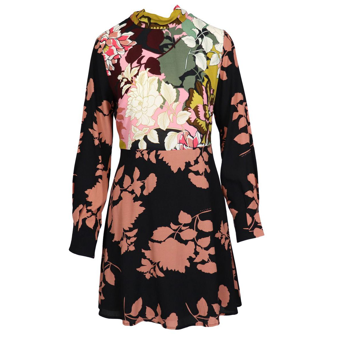 Abele viscose dress with floral print Black / pink Nenette